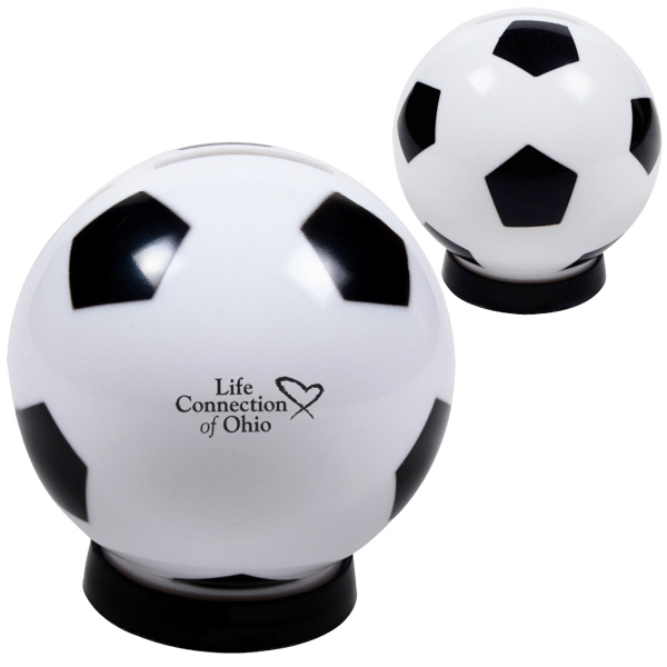 Plastic Soccer Ball Shaped Coin Bank With A Bottom Removable Cap Photo