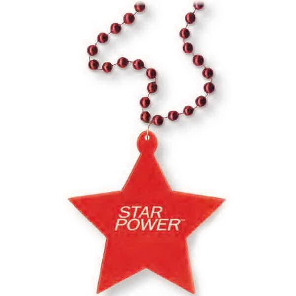 "Medallion Necklace, 33"" With 7 1/2mm Beads With Matching 3"" Star Shaped Medallion Photo"
