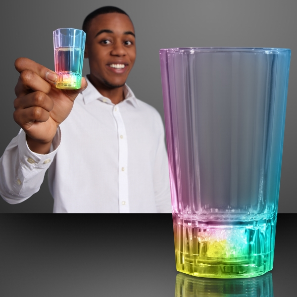 Flashing LED shot glasses (liquid activated)