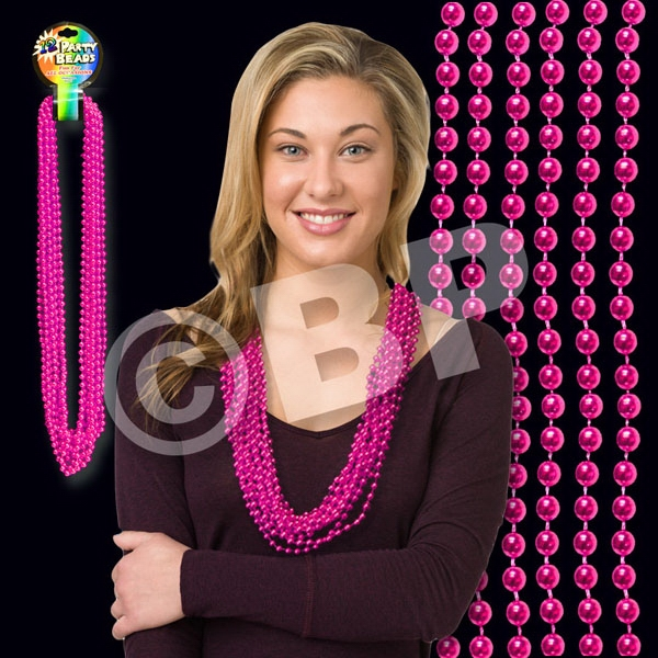 "Hot Pink Metallic Round Beaded Mardi Gras Beads Necklace, 33"" (7mm), Blank Photo"