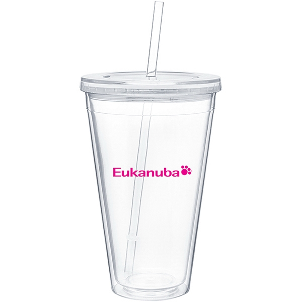 Spirit - Clear - 24 Oz Acrylic Double Wall Tumbler With Threaded Lid And Matching Straw Photo