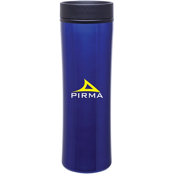 Cyrus - Blue - 16 Oz Stainless Steel Foam Insulated Tumbler With Plastic Liner, Push-on Swivel Lid Photo