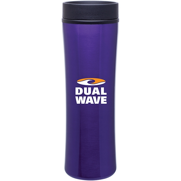 Cyrus - Purple - 16 Oz Stainless Steel Foam Insulated Tumbler With Plastic Liner, Push-on Swivel Lid Photo