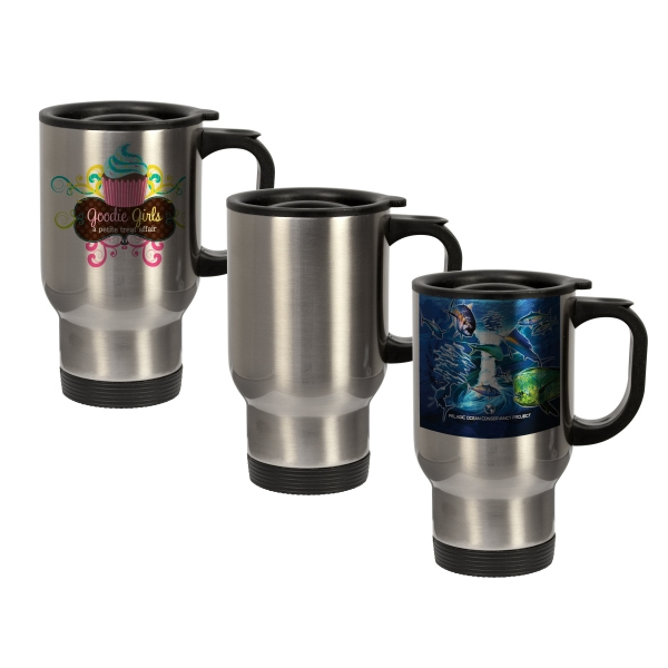 This High-demand 14oz Stainless Steel Travel Mug Is Perfect For Branding On-the-go! Photo