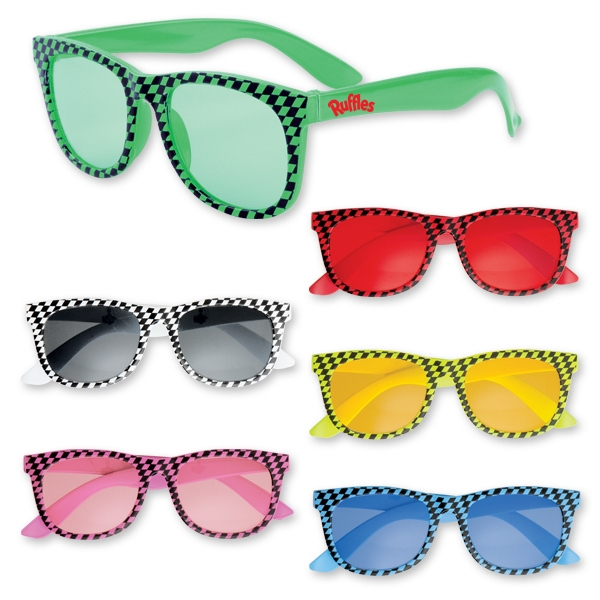 Plastic Checkered Glasses - Assorted Colors
