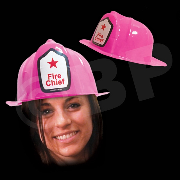 Pink Plastic Novelty Fire-fighter Hat, Blank Photo