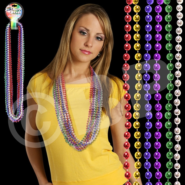 "Multi Bead 7 Mm 33"" Mardi Gras Beads Necklace, Blank Photo"