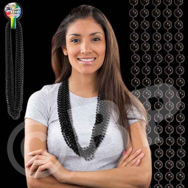 "Black Metallic Round Beaded Mardi Gras Beads Necklace, 33"" (7mm), Blank Photo"