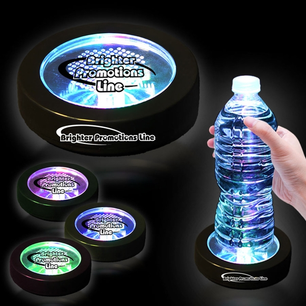 "3 1/2"" Rainbow Light Up LED Glow Drink Coaster"