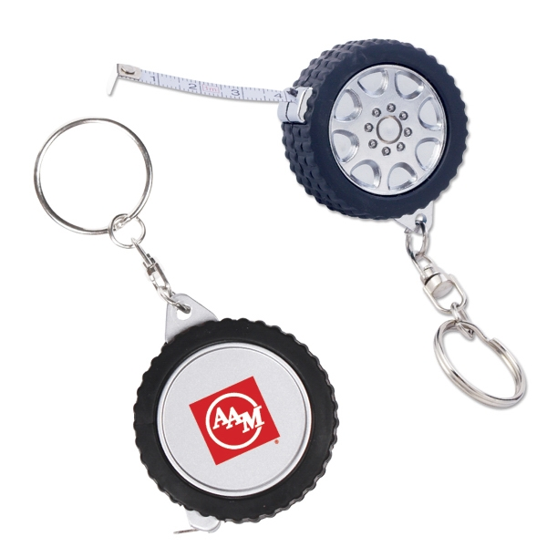 Tire Shaped, 3 Ft. Long Tape Measure With Key Chain Attachment Photo