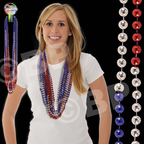 "36"" Red, Silver And Blue Sectional 7 Mm Beaded Necklace, Blank Photo"