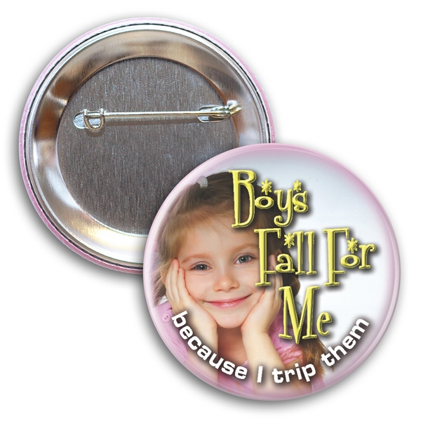 Circle Button With Safety Pin Back Photo