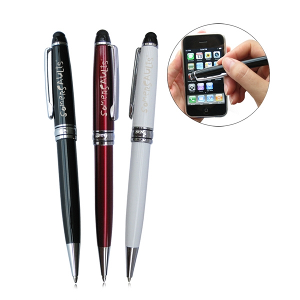 White - 2 In 1 Touch Screen Stylus With Ball Point Pen Photo