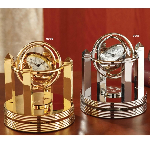 Galileo - Brass Quartz Desk Clock And Mounted For 360 Degree Motion Photo