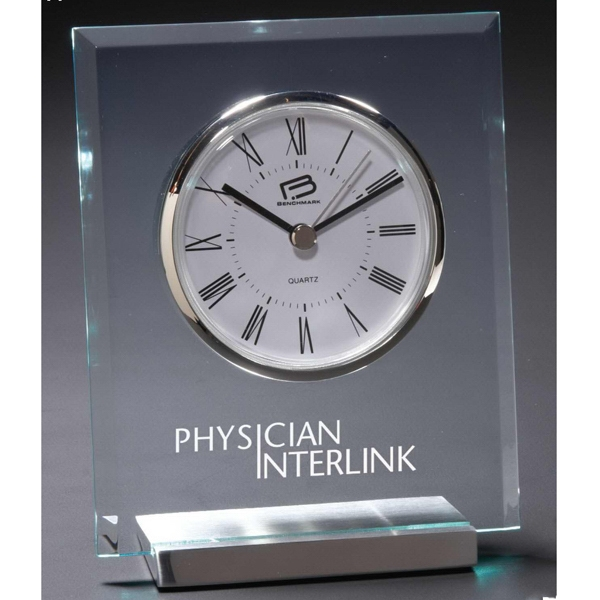 Apollo - Clear Square Top Desk Clock With Deluxe Quartz Movement And Silver Metal Accents Photo