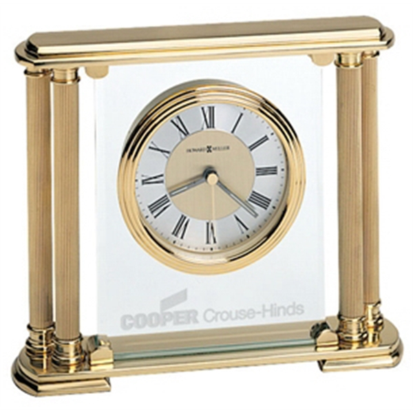 Athens - Brushed Solid Brass Clock With Beveled Glass Panel And Polished Edges Photo