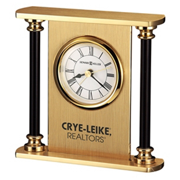 Casey - Solid Brass Alarm Clock With Black Lacquered Columns And Brushed Brass Panel Photo