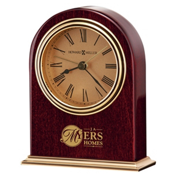 Parnell - High Gloss Rosewood Finished Alarm Clock With A Brass Plated Base Photo