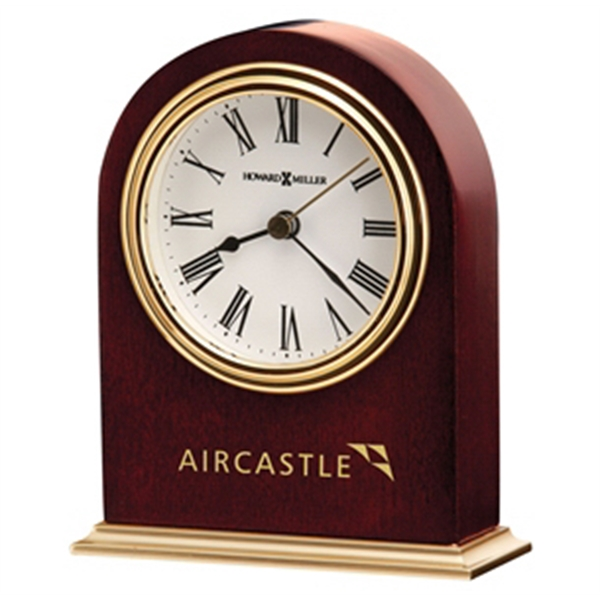 Craven - Satin Rosewood Finished Clock With Polished Brass Finished Metal Base Photo