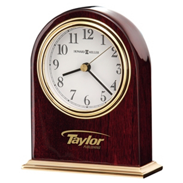 Monroe - High Gloss Rosewood Finished Clock With A Brass Finished Base Photo