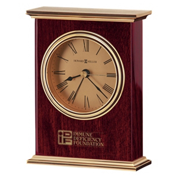 Laurel - Carriage Alarm Clock With Rosewood Finish, Brass Finished Top And Base Photo