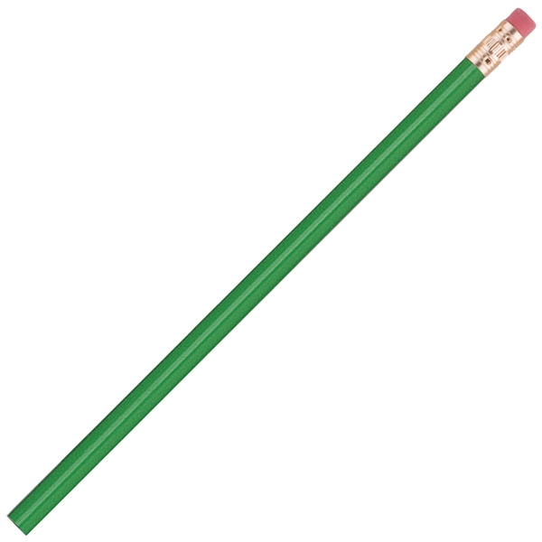 International (tm) - 3 Color Imprint - Hi-gloss Green - Bonded Core Pencil In A Wood-cased Barrel With Brass-colored Ferrule And Red Eraser Photo
