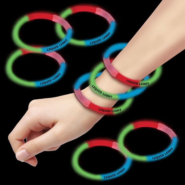 "Red Green & Blue 8"" Triple Color Superior Glow Bracelet Photo"