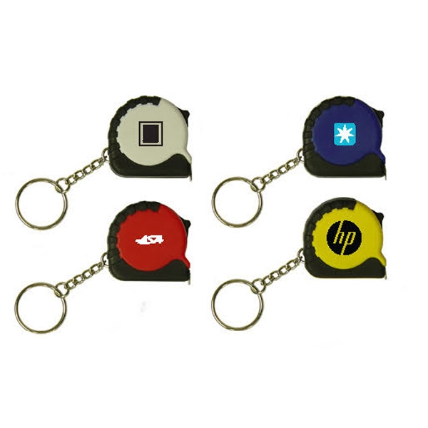 Plastic Key Chain With Retractable Tape Measure, 3 Ft. In Length Photo