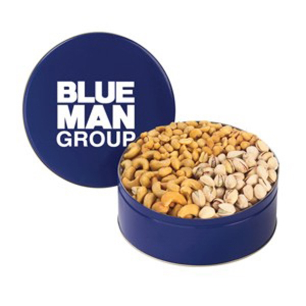 Medium 3 Way Nut Tin Filled With Peanuts, Cashews And Pistachios Photo