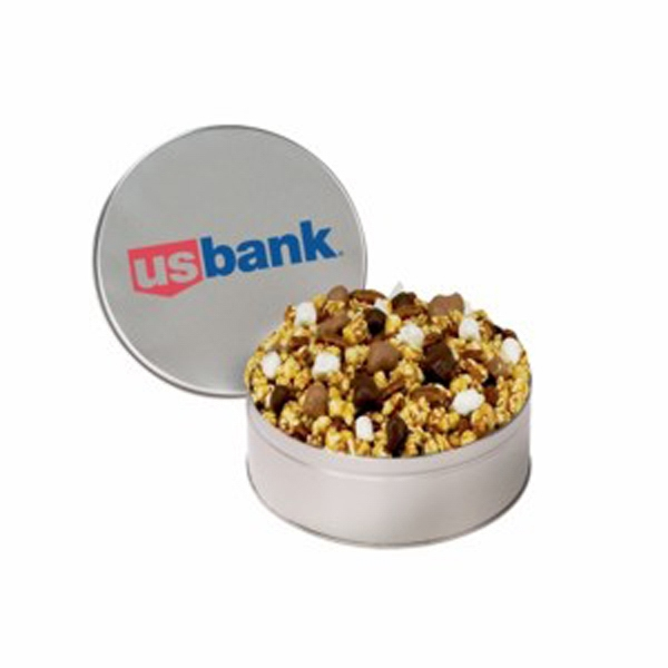 Medium Munch Tin Filled With Caramel Coated Popcorn, Glazed Pecans And More Photo