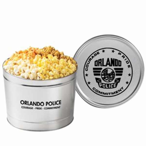 Four Way Divided Popcorn Tin Filled With Flavored Popcorn. 2 Gallon Photo
