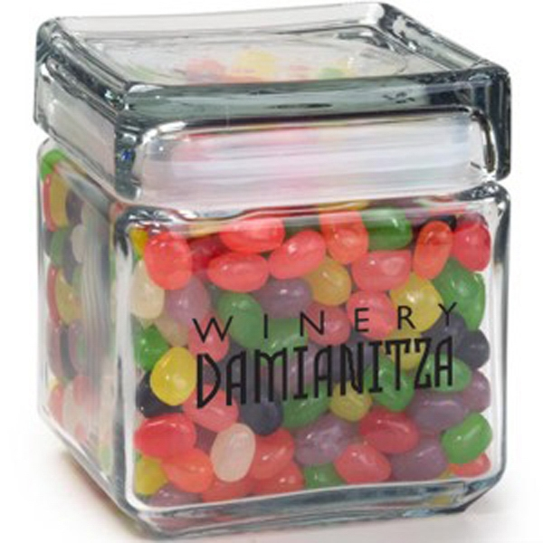 Square Glass Jar / Jelly Beans Assorted