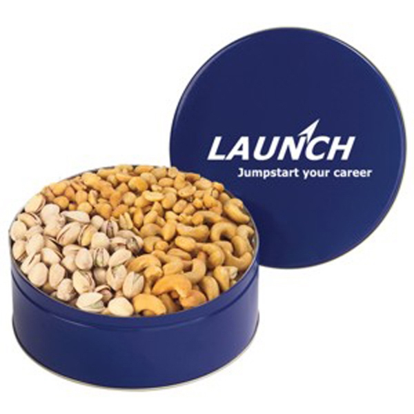 "Three Way 8 1/2"" X 3"" Large Tin With Peanuts, Cashews And Pistachios Photo"
