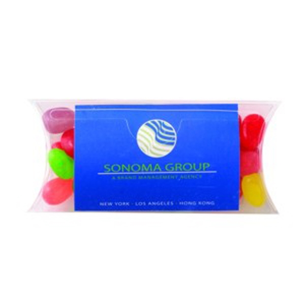 "Assorted Jelly Beans In A 4.5"" X .75"" X 2"" Container With Business Card Slot Photo"