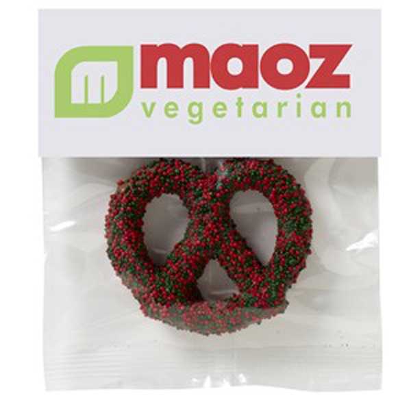 Chocolate Covered Pretzel Knot in Header Bag