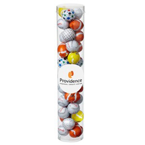 Large Tube with Clear Cap / Chocolate Sport Balls