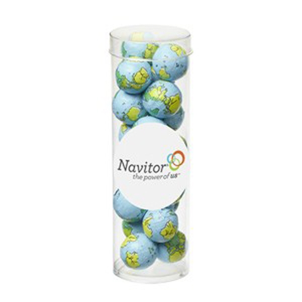 """Small Tube with Clear Cap / Chocolate Earth Balls - Chocolate sport balls in a 1.75"""" dia. x 5.5"""" h tube."""
