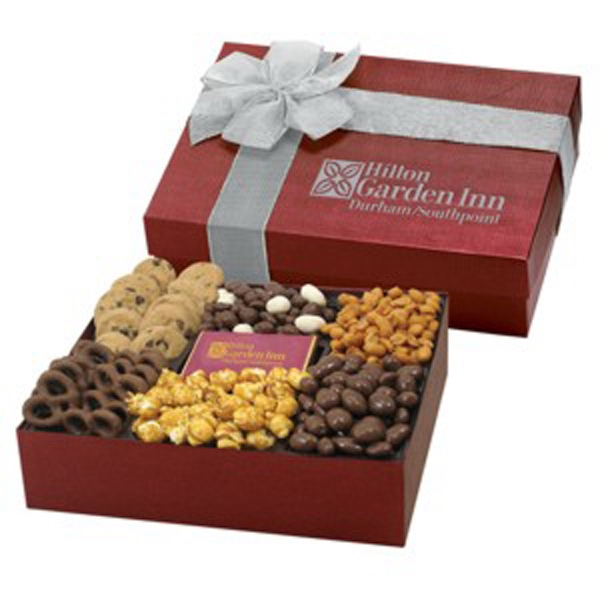 6 Way Deluxe Gift Box/Choc. Bar - Delectable Snack Selection