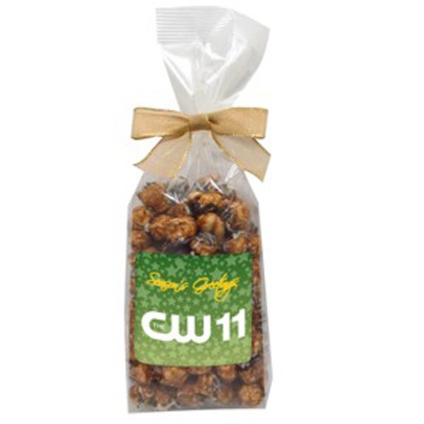 White And Dark Chocolate Swirl - Gourmet Popcorn In A Cello Bag With Bow Photo