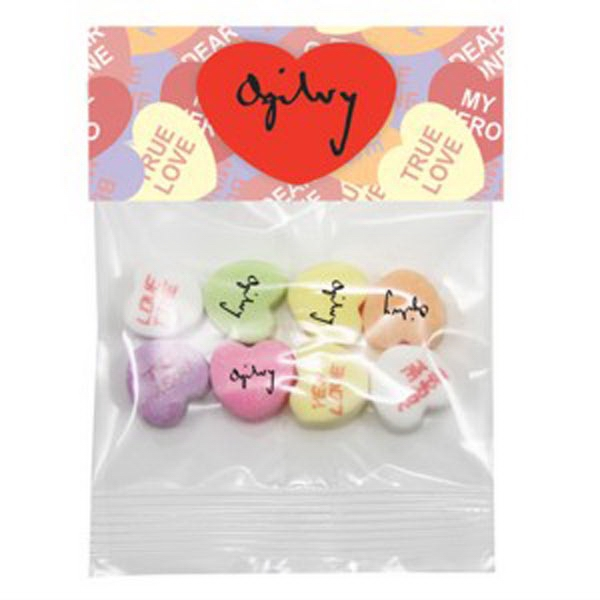 Conversation Hearts In A Header Bag With 4 Custom And 4 Random Preprinted Messages Photo
