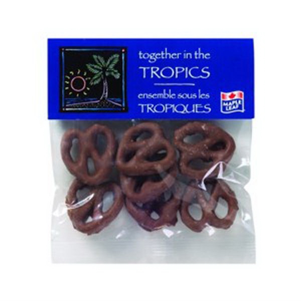 1 Oz Chocolate Pretzels In A Header Bag Photo