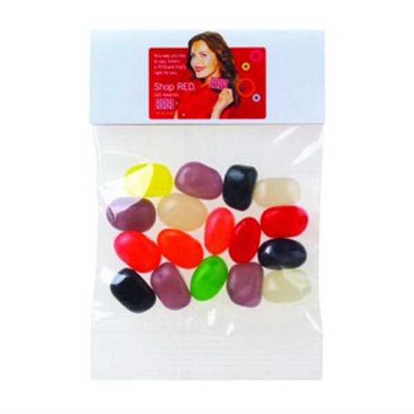 1 Oz Assorted Jelly Beans In A Header Bag Photo