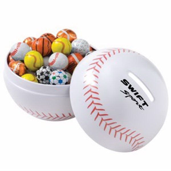 Themed Tin Bank With 6.5 Oz. Chocolate Sport Balls