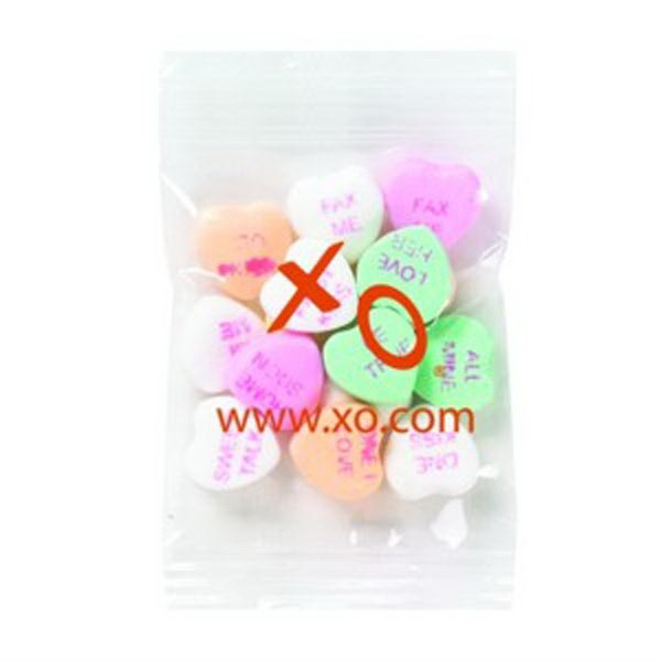 Promo Snax - 1/2 Oz - Conversation Heart Shape Candy In Cello Bag Photo