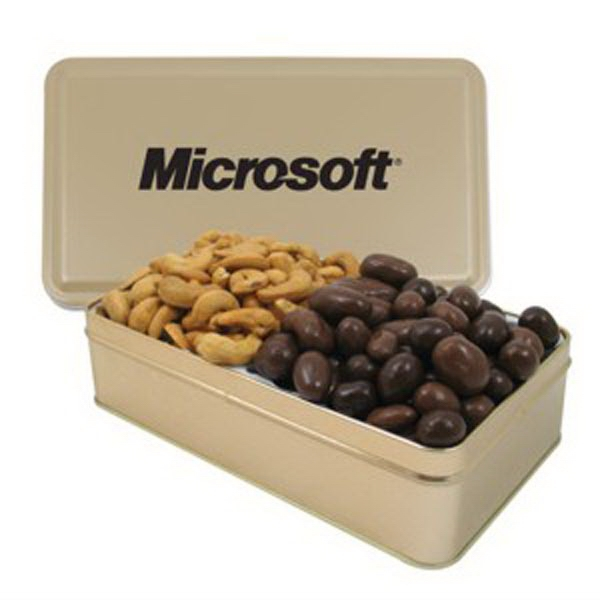 Large 2 Way Rectangle Tin/Chocolate Covered Almonds/Cashews