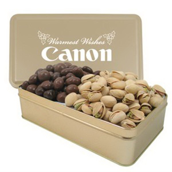 2 Way Rectangle Tin/Chocolate Covered Almonds/Pistachios