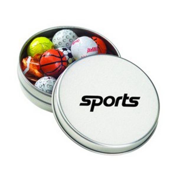 Medium Round Tin / Chocolate Sport Balls