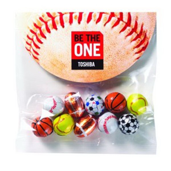 2.3 oz Chocolate Sport Balls / Header Bag