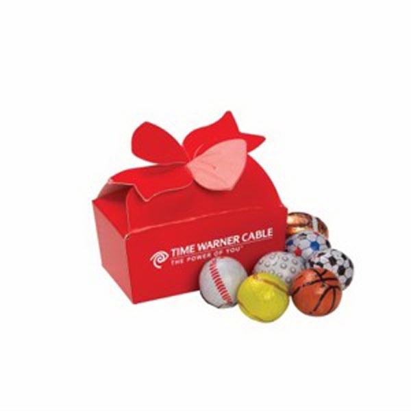 Small Bow Gift Box / Chocolate Sport Balls