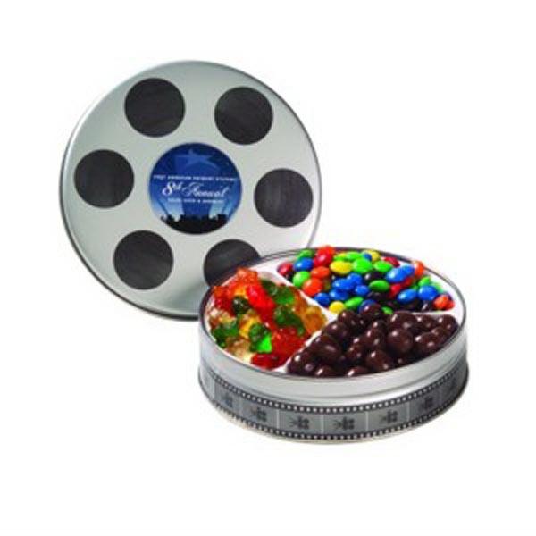 Small Film Reel Tin / 3 Way Snack Tin
